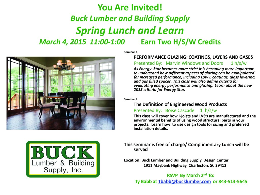 You Are Invited! 03-04-15 Buck Lumber Lunch and Learn